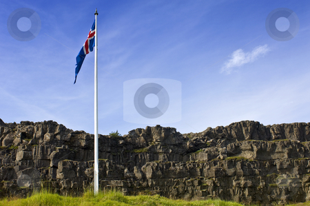 Thingvellir, Iceland stock photo, The flag of Iceland, flying from a flag pole in Thingvellir, Iceland by Corepics VOF
