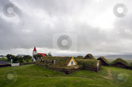 Glaumbaer Historic Farms stock photo, The historic farm at Glaumbaer in Iceland, with its typical grass insulated roofs by Corepics VOF