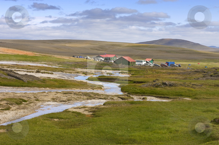 Hveravellir Base Camp stock photo, The base camp near the geothermal hot spring area in the remote highlands of the Kjolur region in Iceland. by Corepics VOF