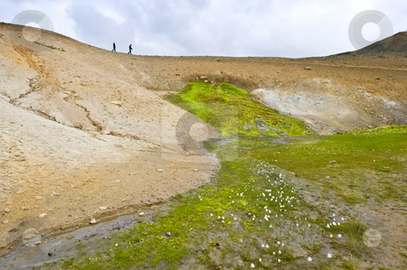 Geothermal Spring stock photo, A hot spring emerging from the sides of a volcano caldera in the active Krafla system near Myvatn, Iceland by Corepics VOF