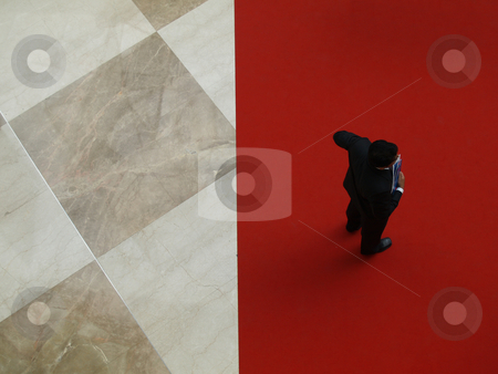 Businessman 01 stock photo, Single person standing on red carpet by Jose .
