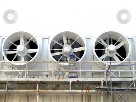 3 Fans stock photo, Three industrial white cooling fans by Jose .