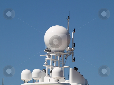 Radar 01 stock photo, Close up of communications equipment of a vessel by Jose .