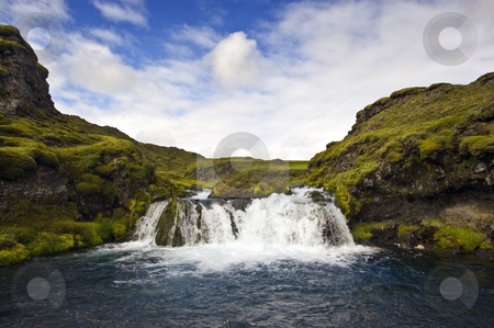 Landmannalaugar Waterfall stock photo, A small, hidden and obscured waterfall in the Icelandic National Park Landmannalaugar by Corepics VOF
