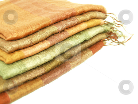 Silk Scarf stock photo, Stack of folded silk scarfs by Jose .
