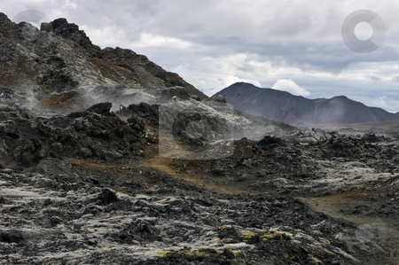 Active Volcanic Fissure stock photo, An active volcanic fissure in the Krafla system, surrounded by steaming hot Lava from the 1984 Eruption by Corepics VOF