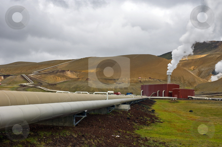 Krafla Power plant at Kroflustod stock photo, The 60MW geothermal powerplant in the Volcanic Krafla system, generating electricity from the natural earth energy by Corepics VOF