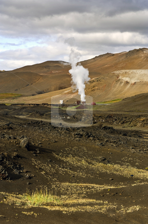 Krafla Power Plant stock photo, Part of the 60MW geothermal powerplant in the Volcanic Krafla system, generating electricity from the natural earth energy by Corepics VOF