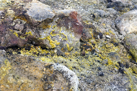 Volcanic Textures stock photo, The silica, sulfur deposits, lichen and rhyolite structures of the active volcanic Krafla System in Iceland by Corepics VOF