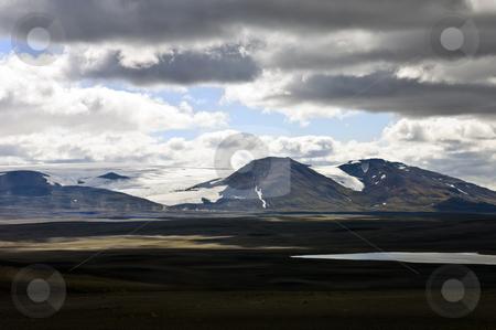 Sprengisandur stock photo, The barren tundra of the Sprengisandur Highlands in Iceland, with the dominating Vatnajokull glacier in the background by Corepics VOF