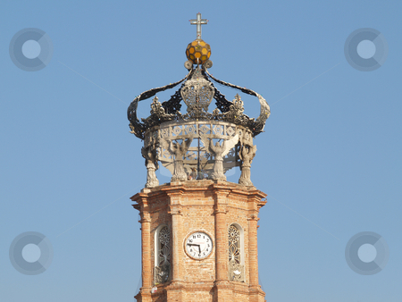 Iglesia PVR stock photo, Crown clock tower Puerto Vallarta Mexico by Jose .