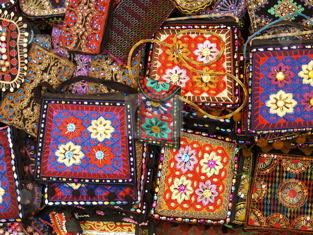 Handcraft 11 stock photo, Group of hindi style pouches by Jose .
