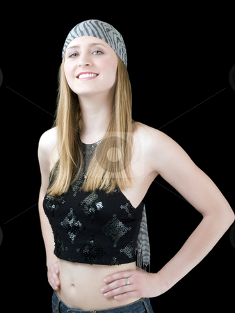 Young Caucasian Woman in Scarf with smile stock photo, Young woman in scarf and showing belly by Jeff Cleveland