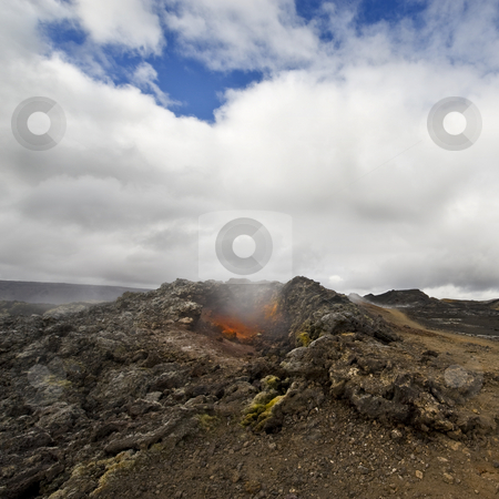 Krafla Fissure vent stock photo, The hot, scorched earth of the Krafla volcanic system, with its extensive lava fields, fissures and explosion craters by Corepics VOF