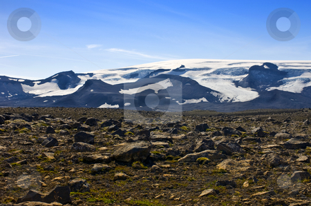 Glacier View stock photo, The Vatnajokull glacier and volcano with the barren, rock covered Tundra in front by Corepics VOF