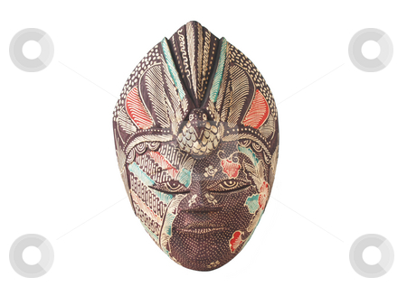 Mask Bali stock photo, Wooden mask over white background by Jose .