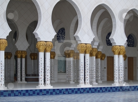 Colonnade 01 stock photo, Collonade at the Abu Dhabi mosque by Jose .