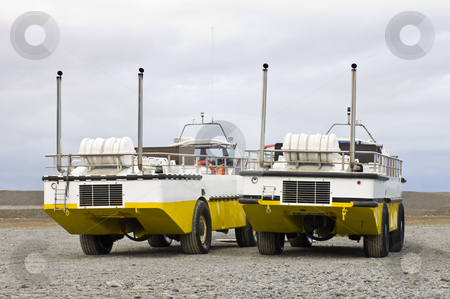 Two Amphibian crafts stock photo, Two amphibious vehicles, used to carry passengers and/or tourists over the Jokulsarlon Glacier lake in Iceland by Corepics VOF