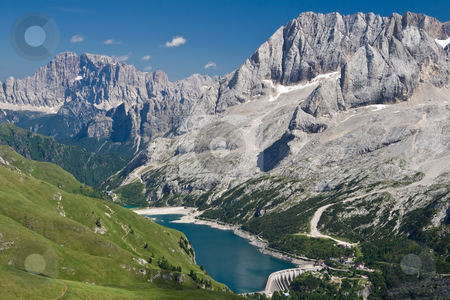 Fedaia stock photo, Summer view of Fedaia pass and lake (trentino, Italy). Photo taken with circular polarizer by ANTONIO SCARPI