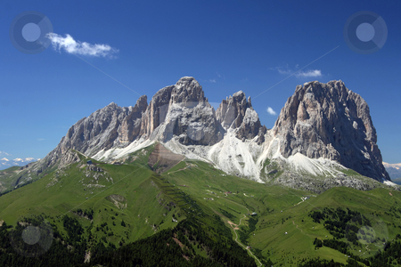 Sassolungo stock photo, Summer view of Sassolungo in Trentino, italian dolomiti by ANTONIO SCARPI
