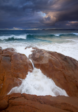 Surfs Up stock photo, Major Waves hitting the rocky shores of the Knights Beach on the Fleurieu PEninsula beneath stomy skies. by Mike Dawson