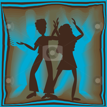 Retro dancing in blue stock vector clipart, Retro couple dancing in blue light with brown background by Karin Claus