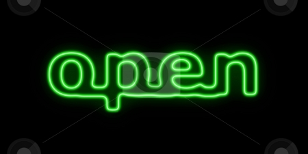 Open stock photo, Green neon sign with the word open on black background by Henrik Lehnerer