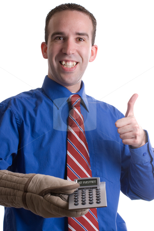 Good Investment stock photo, A young banker giving a thumbs up and holding a calculator with an oven mitt to signify a hot investment, isolated against a white background by Richard Nelson