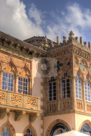Venetian Style Mansion stock photo, Architecturial detail on the west side of the Ringling mansion in Sarasota, Florida by Steve Carroll