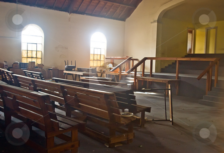 Abandoned Church stock photo, Interior of an old, abandoned church by Steve Carroll