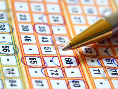 Lottery ticket stock photo, Pencil and lottery ticket closeup with marked numbers. by Sinisa Botas