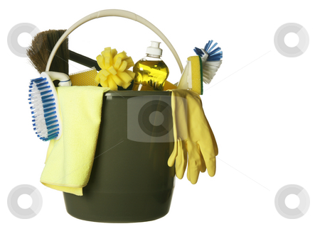 Cleaning supplies bucket isolated stock photo, Plastic bucket with cleaning supplies isolated on white background by Stacy Barnett
