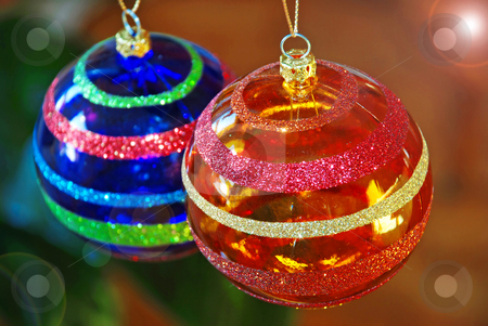 Christmas balls stock photo, Two blue and orange christmas balls decorations closeup by Julija Sapic