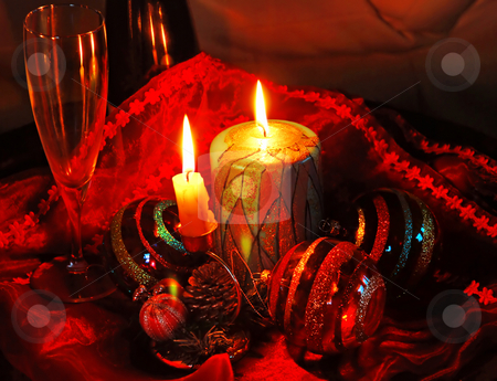 Christmas collage stock photo, Christmas collage with burning candles, decorative balls and glass by Julija Sapic