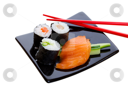Sushi dish stock photo, Sushi dish on a white background with red chopsticks by Steve Mcsweeny