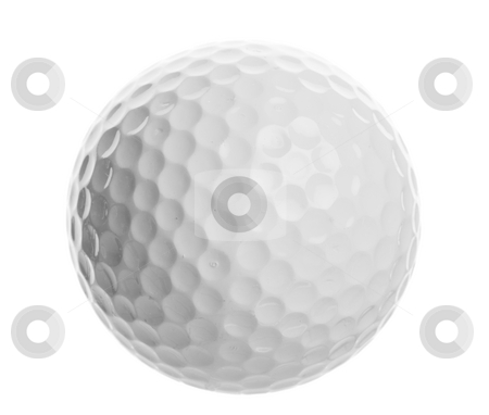 Golf ball stock photo, Isolated golf ball closeup on a white background by Steve Mcsweeny