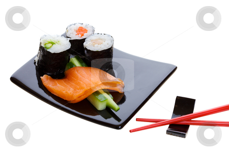Sushi platter stock photo, Sushi dish on a white background with red chopsticks by Steve Mcsweeny