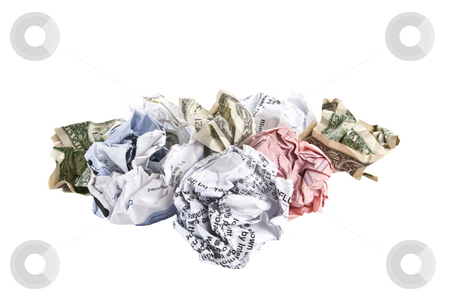 Too Many Bills -- Too Few Dollars stock photo, Crumpled bills and dollar bills, isolated on white background. by Steve Carroll