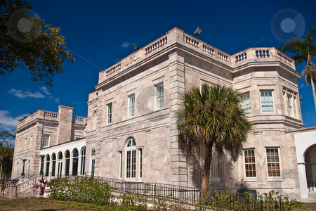 Charles Ringling Mansion stock photo, Bayside view of Charles and Edith Ringling's winter retreat in Sarasota, Florida -- now administrative offices for New College of Florida by Steve Carroll