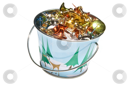 Miniture Holiday Bucket Filled with Brightly Colored Push-Pins,  stock photo, Miniture bucket with Holiday design, filled with brightly colored push pins.  Isolated on a white background. by Steve Carroll
