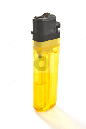 Disposable Butane Lighter stock photo, Inexpensive disposable butaine lighter, isolated on white background by Steve Carroll