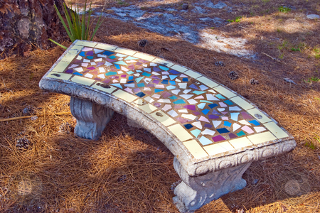 Mosiac Tiled Park Bench stock photo, Concrete bench with mosiac tile top by Steve Carroll