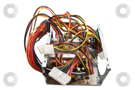 Broken Computer Power Supply, Isolated stock photo, Computer power supply with top removed, isolated on a white background by Steve Carroll