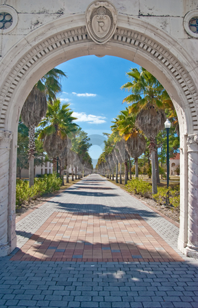 Entrance to Charles Ringling Mansion stock photo, Entrance to Charles and Edith Ringling's winter retreat in Sarasota, Florida -- now administrative offices for New College of Florida by Steve Carroll