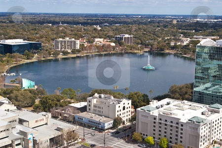 Lake Eola stock photo, Lake Eola from top of a highrise in downtown Orlando, Florida by Steve Carroll
