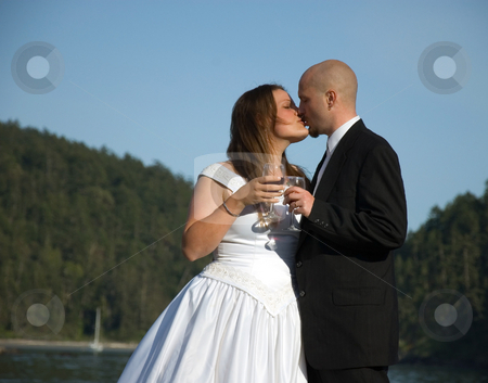 Bride and Groom Kiss During Wine Toast stock photo, This young bride and groom share a kiss during a toast with their wine glasses against blue sky. by Valerie Garner