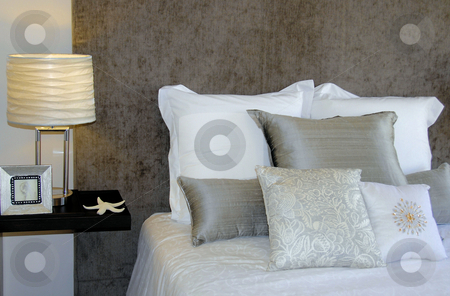 Bedroom stock photo, Bedroom interior by Laura Smith