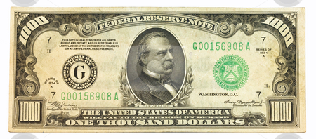 Old One Thousand Dollar Bill stock photo, Old obsolete one thousand dollar bill by Dennis Crumrin