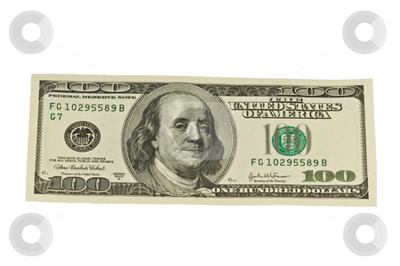 One Hundred Dollar Bill stock photo, One Hundred Dollar Bill with white background by Dennis Crumrin