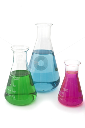 Lab flasks stock photo, Three lab flasks with blue green and magenta fluids by Noam Armonn
